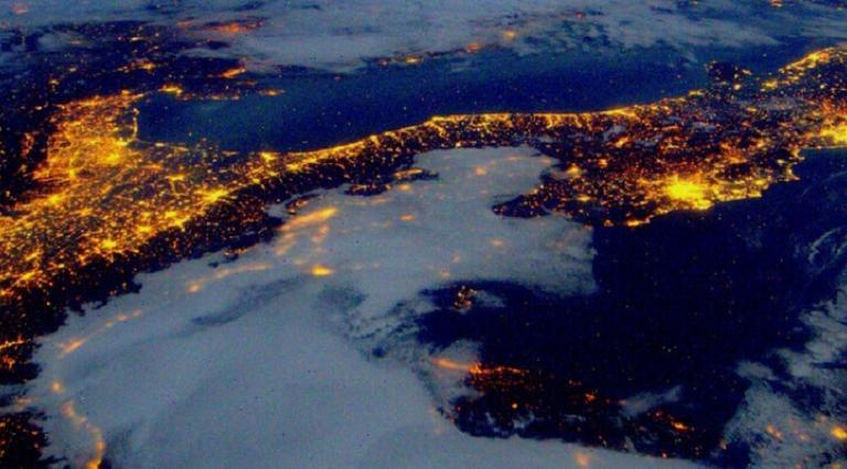 world at night from space